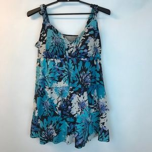 Catherines One Piece Blue Floral Straps Tiered 20W